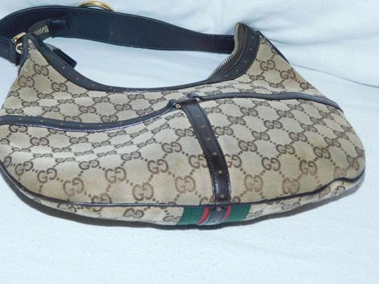 Gucci Mint Vintage Britt Reins Blondie Khaki/Red/Green Equestrian Large Size Hobo Bag Image 2
