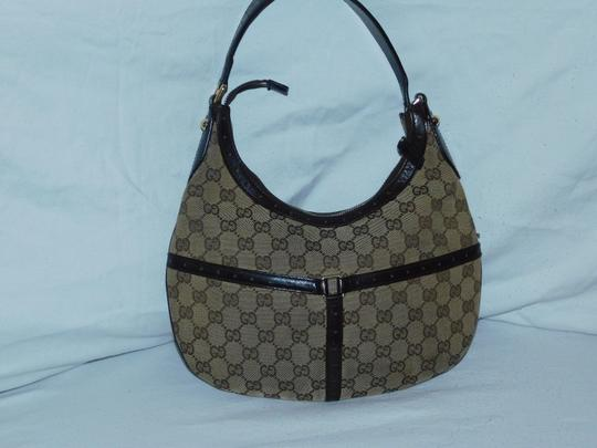 Gucci Mint Vintage Britt Reins Blondie Khaki/Red/Green Equestrian Large Size Hobo Bag Image 4