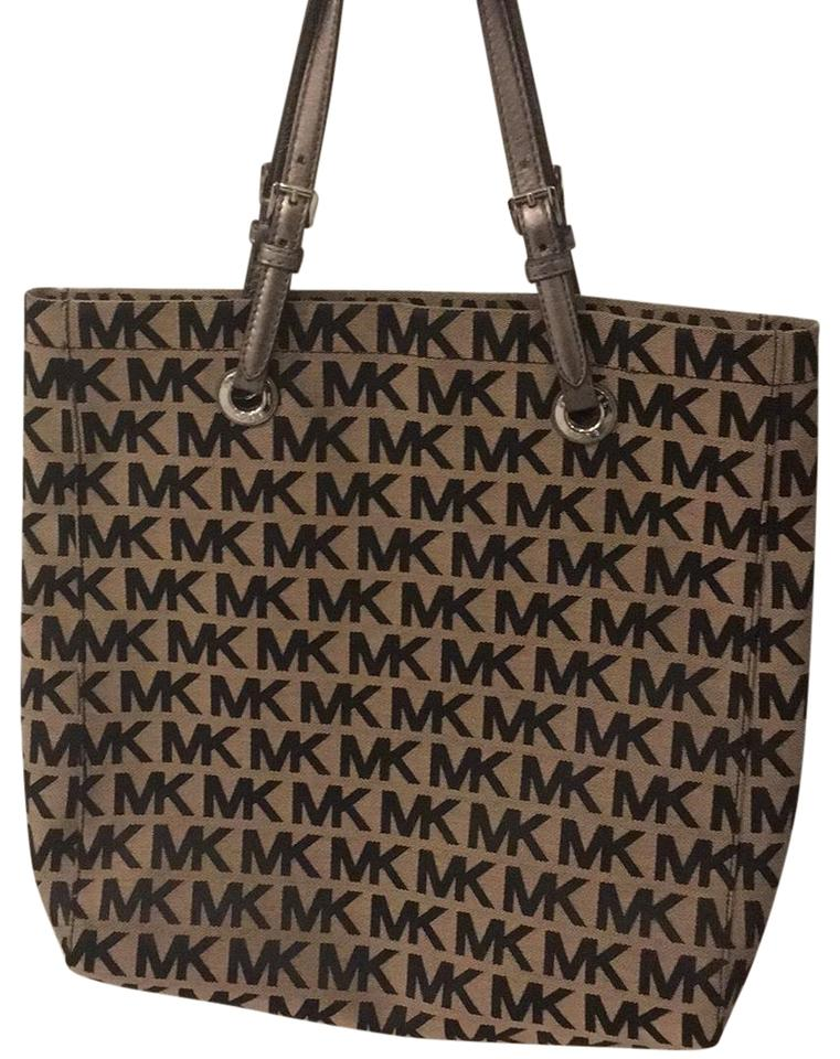 bbc3f8b95bcf96 Michael Kors Tan with Black Mk Logo Canvas Silver Leather Shoulder Strap  Tote
