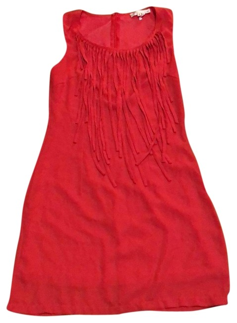 Item - Red Fringe Short Casual Dress Size 4 (S)