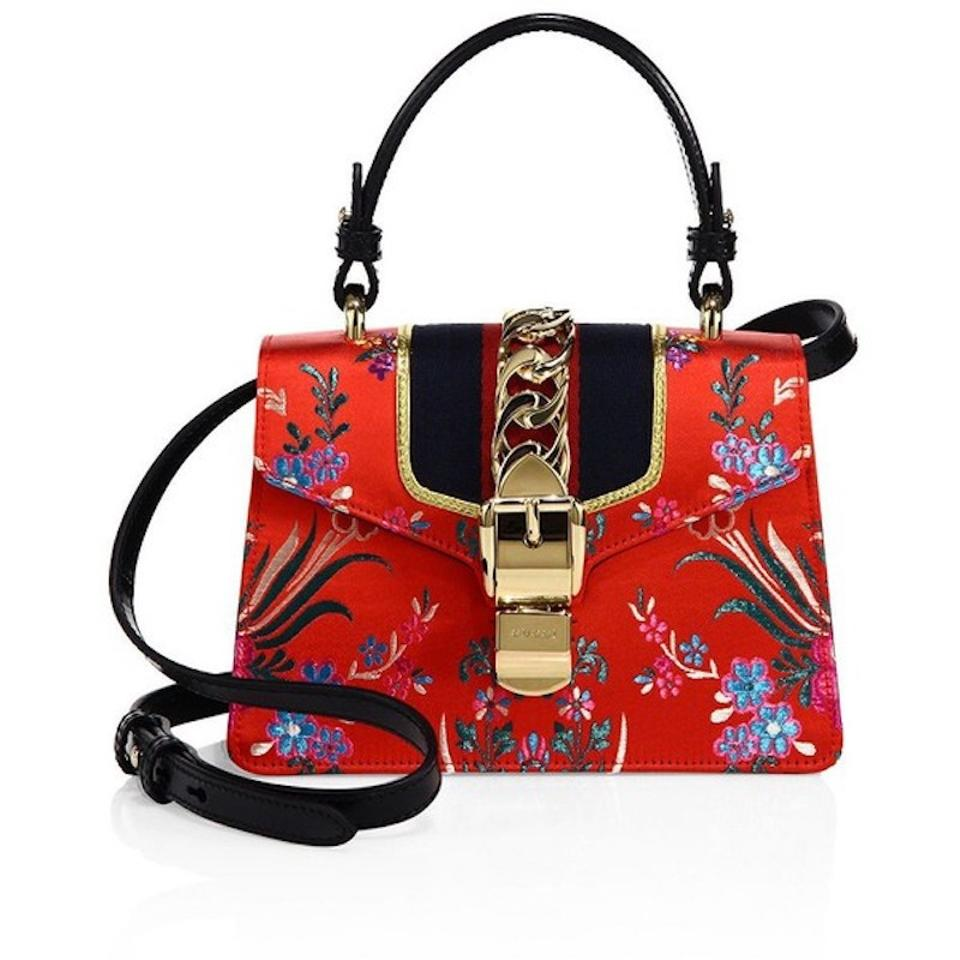 Gucci Sylvie Mini Tokyo Hibiscus Floral Gold Chinese Ribbon Box Red ... bbb2dc51599d8
