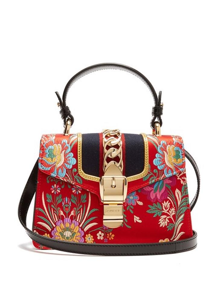 cf1a2440666b Gucci Sylvie Mini Tokyo Hibiscus Floral Gold Chinese Ribbon Box Red Jacquard  Shoulder Bag - Tradesy