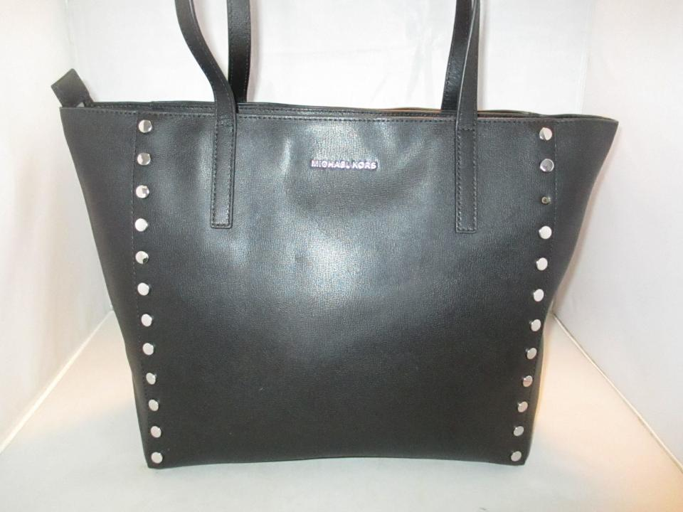 e8d4581c9471 Michael Kors Handbag Rivington Stud Large Tote Satchel Black Leather  Shoulder Bag - Tradesy