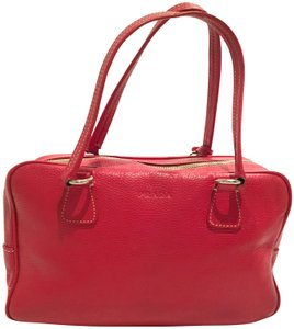 Prada Leather Pebbled Tote in Red