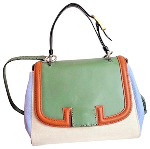 Fendi Colorblock Top Handle Made In Italy Blue Satchel in Green