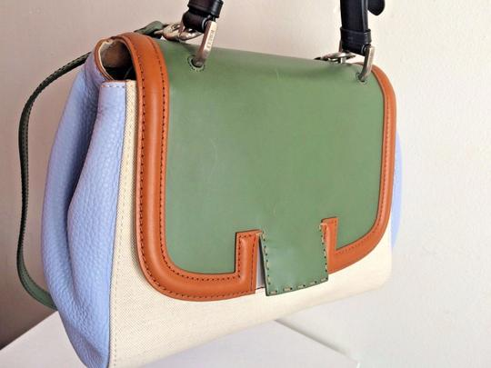 Fendi Colorblock Top Handle Made In Italy Blue Satchel in Green Image 2