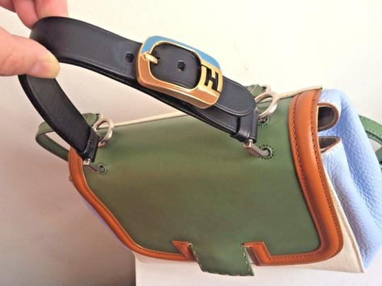 Fendi Colorblock Top Handle Made In Italy Blue Satchel in Green Image 3