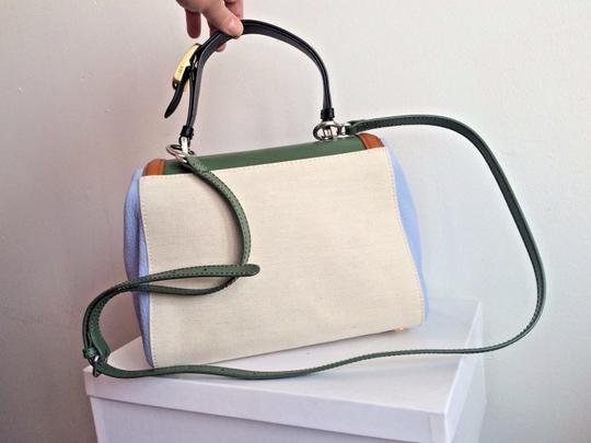 Fendi Colorblock Top Handle Made In Italy Blue Satchel in Green Image 4