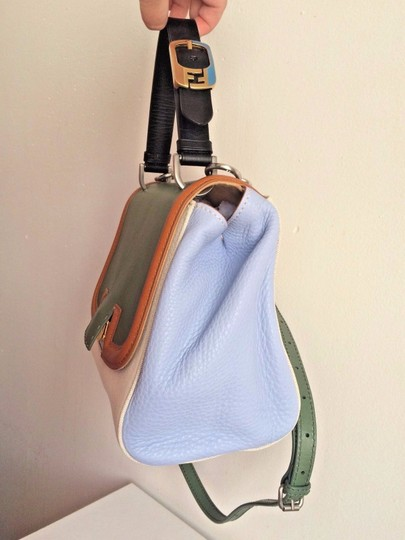 Fendi Colorblock Top Handle Made In Italy Blue Satchel in Green Image 7