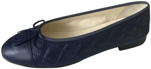 Chanel Cc Ballerina Quilted Bow Ballet Navy Blue Flats