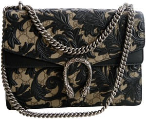 c859dce13 Gucci Dionysus Arabesque Medium Black Canvas Shoulder Bag - Tradesy