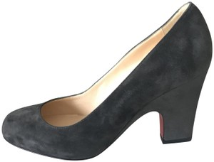 Christian Louboutin Heels Akdooch Patent Leather Carved Wedge Dark Gray Pumps