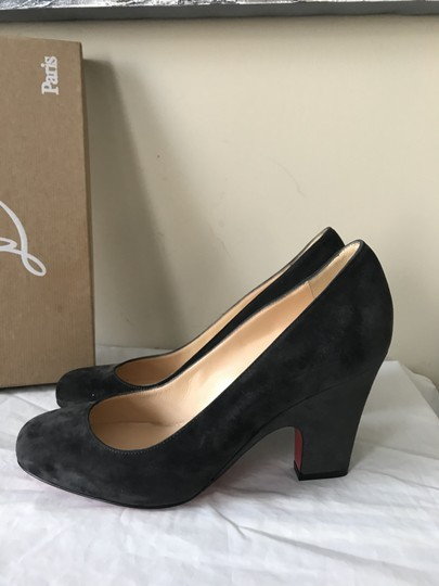 Christian Louboutin Heels Akdooch Patent Leather Carved Wedge Dark Gray Pumps Image 1