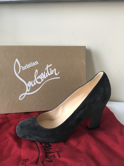 Christian Louboutin Heels Akdooch Patent Leather Carved Wedge Dark Gray Pumps Image 10