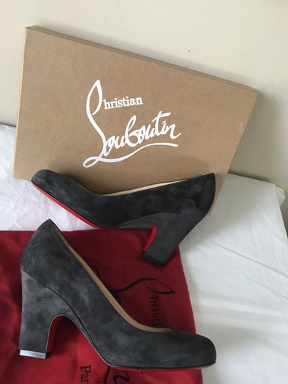 Christian Louboutin Heels Akdooch Patent Leather Carved Wedge Dark Gray Pumps Image 2