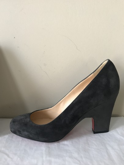 Christian Louboutin Heels Akdooch Patent Leather Carved Wedge Dark Gray Pumps Image 3