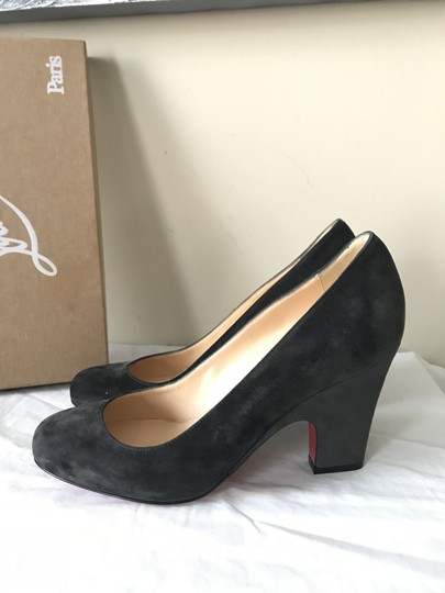 Christian Louboutin Heels Akdooch Patent Leather Carved Wedge Dark Gray Pumps Image 4