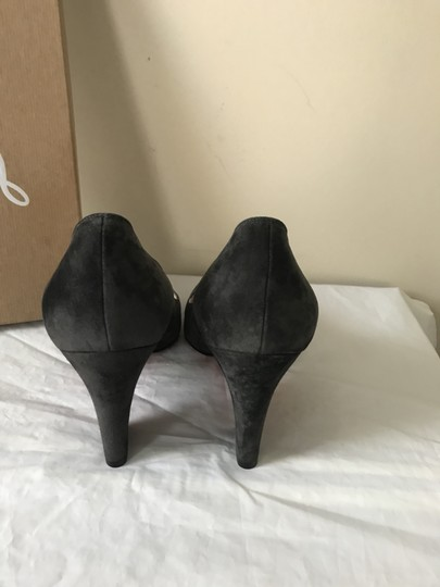 Christian Louboutin Heels Akdooch Patent Leather Carved Wedge Dark Gray Pumps Image 5
