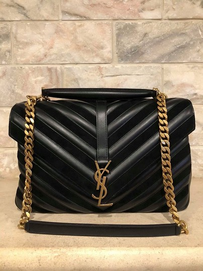 Saint Laurent Monogram Ysl Medium College Chevron Gold