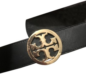 Tory Burch Black/brown reversible leather Tory Burch Reva logo buckle belt