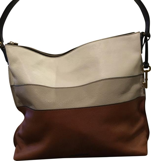 Item - Bucket 3-tone Brown; Cream Gray Leather Shoulder Bag