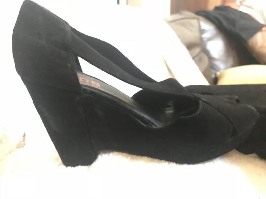 Michael Kors Collection Suede Leather Strappy Peep Toe black Platforms Image 5