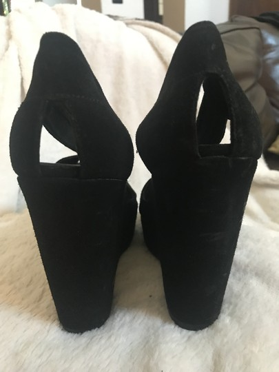Michael Kors Collection Suede Leather Strappy Peep Toe black Platforms Image 9