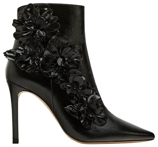 Zara Floral Flower Patent Leather Pointed Toe Embroidered black Boots Image 1