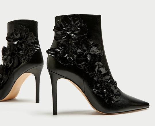 Zara Floral Flower Patent Leather Pointed Toe Embroidered black Boots Image 3