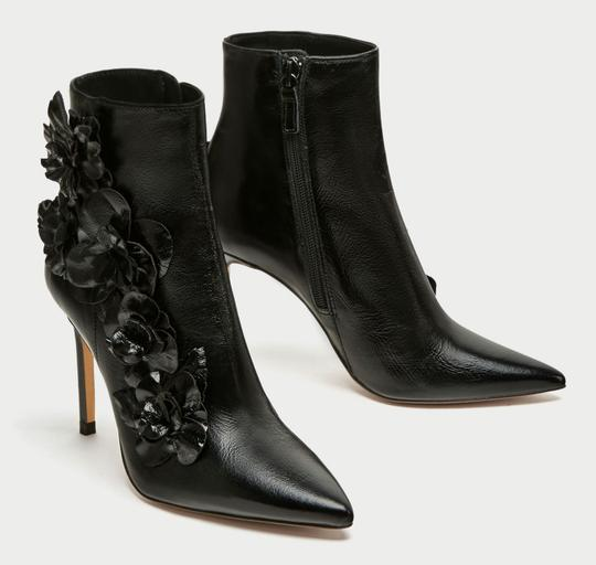 Zara Floral Flower Patent Leather Pointed Toe Embroidered black Boots Image 7