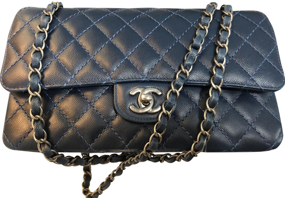 fd80ff410bad16 Chanel Classic Flap Classic Medium Double In Caviar Blue ( Navy ...