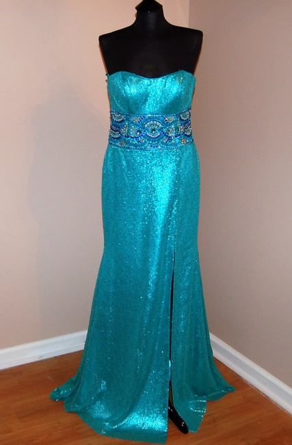 Bari Jay Prom Open Back Strapless Sequin Dress Image 2