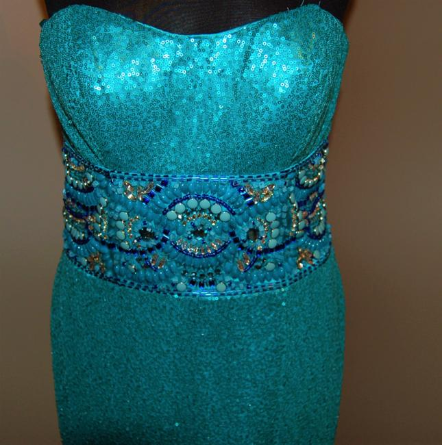Bari Jay Prom Open Back Strapless Sequin Dress Image 3