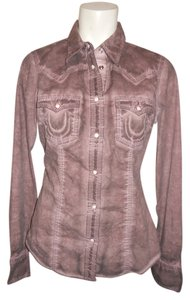 True Religion Western Button Down Shirt brown