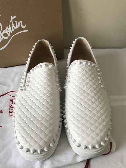 Christian Louboutin Pik Boat Quilted Spike Studded Scale White Flats Image 4