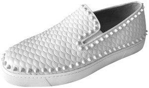 Christian Louboutin Pik Boat Quilted Spike Studded Scale White Flats