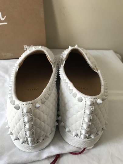 Christian Louboutin Pik Boat Quilted Spike Studded Scale White Flats Image 2