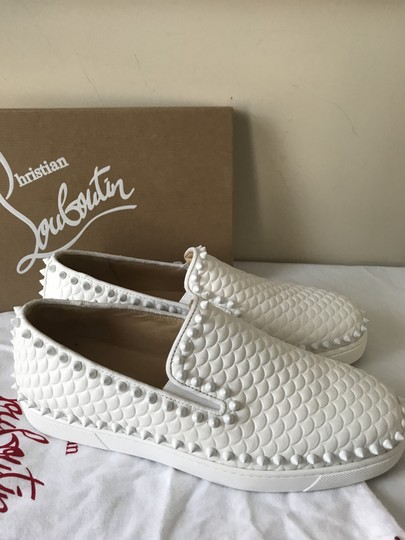 Christian Louboutin Pik Boat Quilted Spike Studded Scale White Flats Image 3
