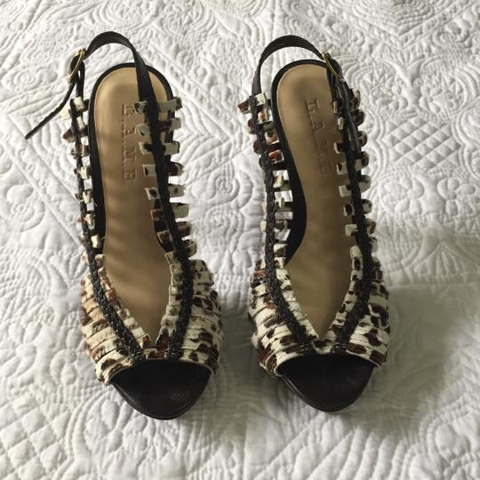 L.A.M.B. Lamb Like New Horsehair Stiletto Leopard Print Pumps Image 1