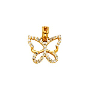 Top Gold & Diamond Jewelry 14K Yellow Gold CZ Butterfly Pendant