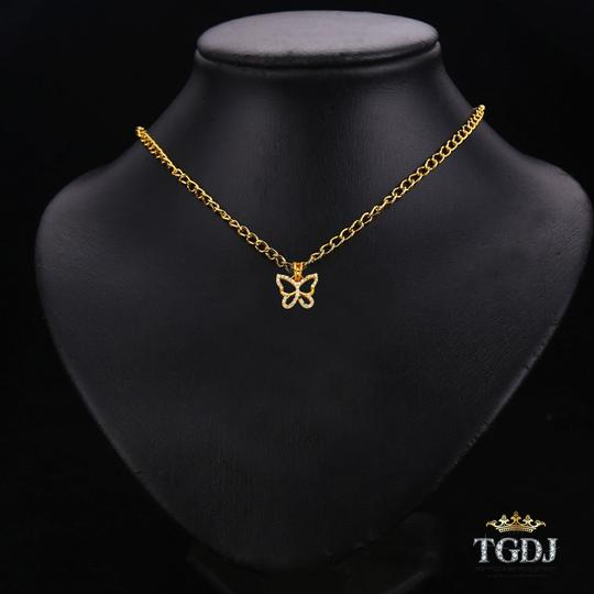 Top Gold & Diamond Jewelry 14K Yellow Gold CZ Butterfly Pendant Image 2