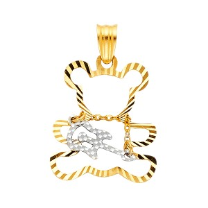Top Gold & Diamond Jewelry 14K Yellow White Gold Playing Guiter Bear Pendant