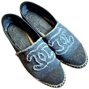 Chanel Canvas Denim Espadrille blue, black Flats