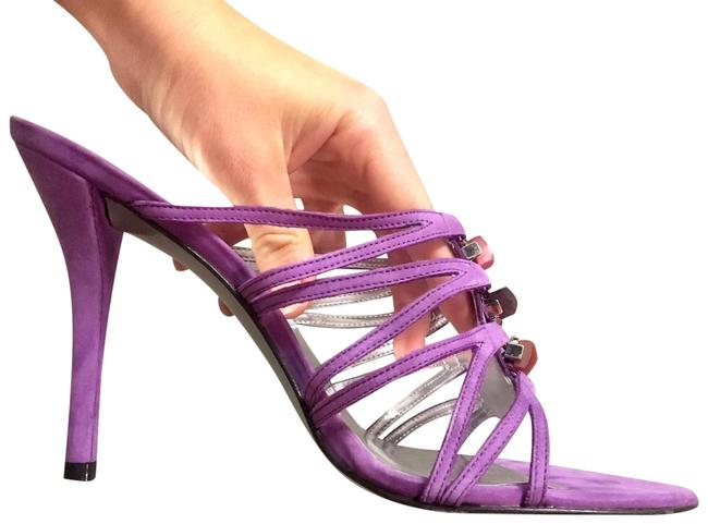 Item - Purple Suede Strappy Heels with Stones At Front Sandals Size US 8.5 Regular (M, B)