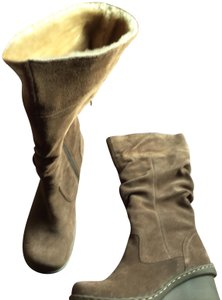 Bare Traps Suede Slouch Wedge Tan Boots