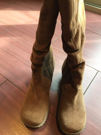 Bare Traps Suede Slouch Wedge Tan Boots Image 1