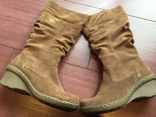 Bare Traps Suede Slouch Wedge Tan Boots Image 2