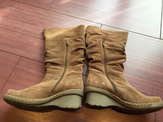 Bare Traps Suede Slouch Wedge Tan Boots Image 3