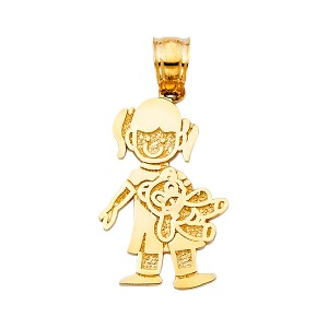 Top Gold & Diamond Jewelry 14K Yellow Gold Girl with Doll Pendant