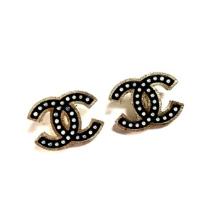 Chanel Huge XL Glossy Black CC Earrings Gold Hardware Pearls